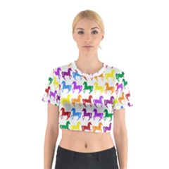 Colorful Horse Background Wallpaper Cotton Crop Top