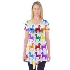 Colorful Horse Background Wallpaper Short Sleeve Tunic
