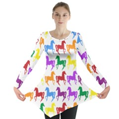 Colorful Horse Background Wallpaper Long Sleeve Tunic