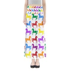 Colorful Horse Background Wallpaper Maxi Skirts