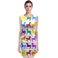 Colorful Horse Background Wallpaper Classic Sleeveless Midi Dress