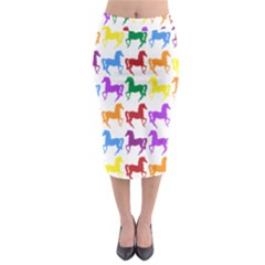 Colorful Horse Background Wallpaper Midi Pencil Skirt
