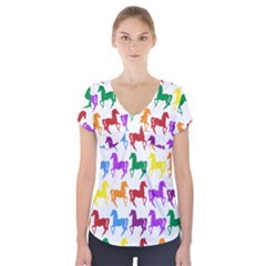 Colorful Horse Background Wallpaper Short Sleeve Front Detail Top