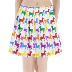 Colorful Horse Background Wallpaper Pleated Mini Skirt