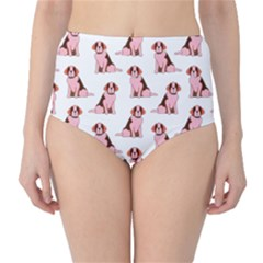 Dog Animal Pattern High Waist Bikini Bottoms