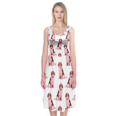 Dog Animal Pattern Midi Sleeveless Dress