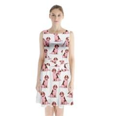 Dog Animal Pattern Sleeveless Chiffon Waist Tie Dress
