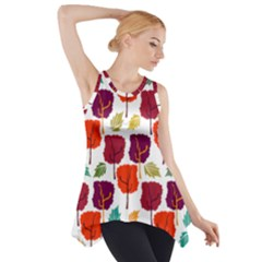 Tree Pattern Background Side Drop Tank Tunic