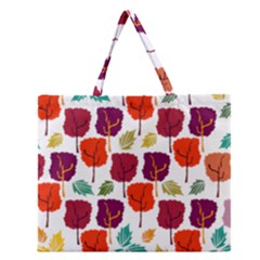 Tree Pattern Background Zipper Large Tote Bag
