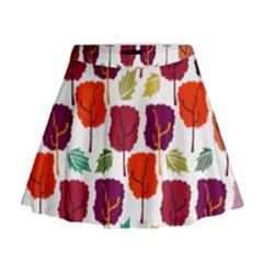 Tree Pattern Background Mini Flare Skirt