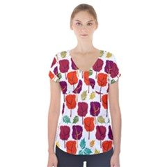 Tree Pattern Background Short Sleeve Front Detail Top
