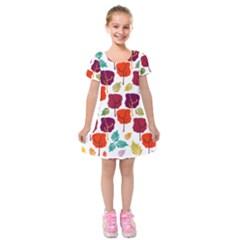 Tree Pattern Background Kids  Short Sleeve Velvet Dress