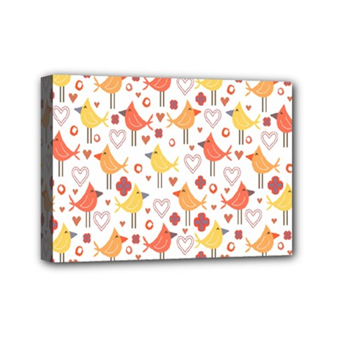 Animal Pattern Happy Birds Seamless Pattern Mini Canvas 7  X 5