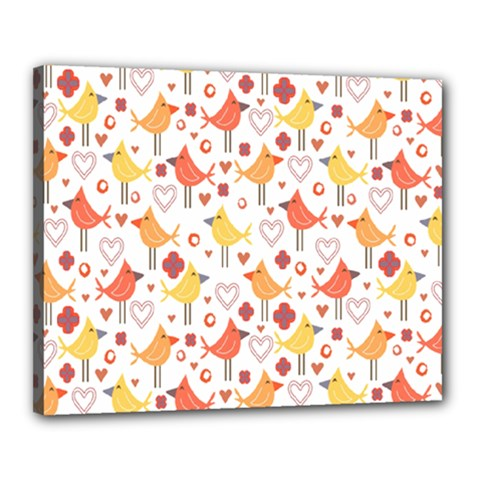 Animal Pattern Happy Birds Seamless Pattern Canvas 20  x 16