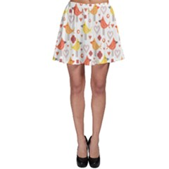 Animal Pattern Happy Birds Seamless Pattern Skater Skirt