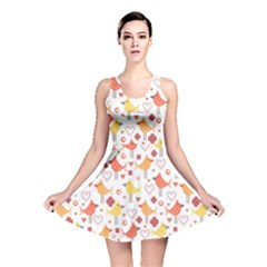 Animal Pattern Happy Birds Seamless Pattern Reversible Skater Dress