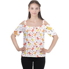 Animal Pattern Happy Birds Seamless Pattern Women s Cutout Shoulder Tee