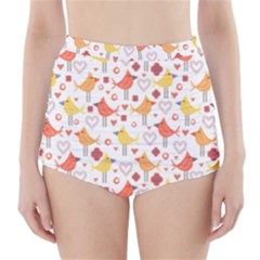 Animal Pattern Happy Birds Seamless Pattern High-Waisted Bikini Bottoms
