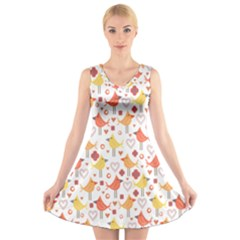 Animal Pattern Happy Birds Seamless Pattern V-Neck Sleeveless Skater Dress