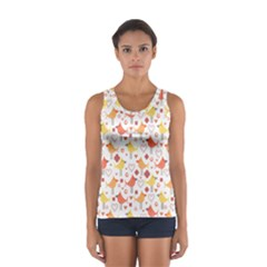 Animal Pattern Happy Birds Seamless Pattern Women s Sport Tank Top