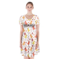 Animal Pattern Happy Birds Seamless Pattern Short Sleeve V Neck Flare Dress