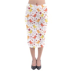 Animal Pattern Happy Birds Seamless Pattern Midi Pencil Skirt