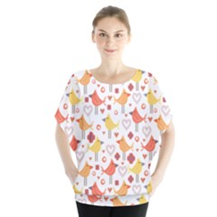 Animal Pattern Happy Birds Seamless Pattern Blouse