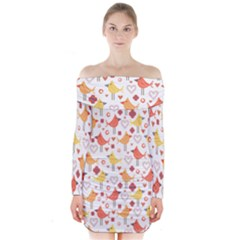 Animal Pattern Happy Birds Seamless Pattern Long Sleeve Off Shoulder Dress