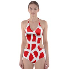 Animal Animalistic Pattern Cut Out One Piece Swimsuit