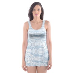 Wind Waves Grey Skater Dress Swimsuit