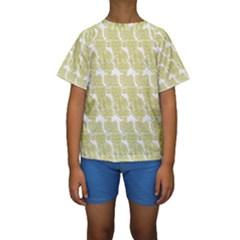Waves Flower Kids  Short Sleeve Swimwear