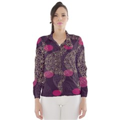 Twig Surface Design Purple Pink Gold Circle Wind Breaker (Women)