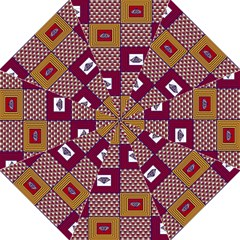African Fabric Diamon Chevron Yellow Pink Purple Plaid Folding Umbrellas