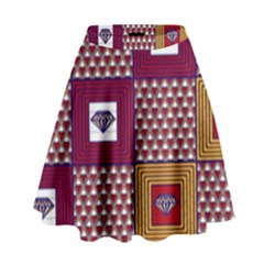 African Fabric Diamon Chevron Yellow Pink Purple Plaid High Waist Skirt