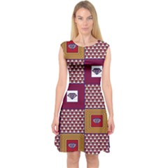 African Fabric Diamon Chevron Yellow Pink Purple Plaid Capsleeve Midi Dress