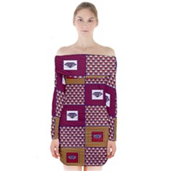 African Fabric Diamon Chevron Yellow Pink Purple Plaid Long Sleeve Off Shoulder Dress