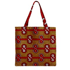 African Fabric Iron Chains Red Purple Pink Zipper Grocery Tote Bag