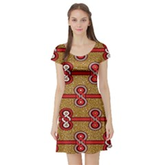 African Fabric Iron Chains Red Purple Pink Short Sleeve Skater Dress