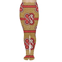 African Fabric Iron Chains Red Purple Pink Women s Tights