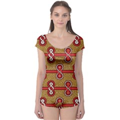 African Fabric Iron Chains Red Purple Pink Boyleg Leotard