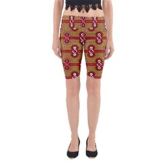 African Fabric Iron Chains Red Purple Pink Yoga Cropped Leggings