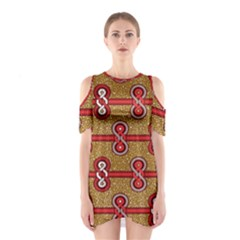 African Fabric Iron Chains Red Purple Pink Shoulder Cutout One Piece