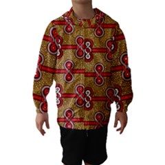 African Fabric Iron Chains Red Purple Pink Hooded Wind Breaker (kids)