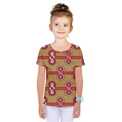 African Fabric Iron Chains Red Purple Pink Kids  One Piece Tee