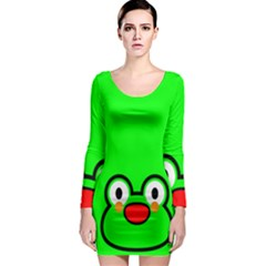 Animals Frog Face Green Long Sleeve Bodycon Dress