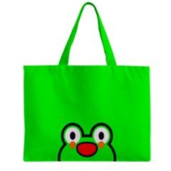 Animals Frog Face Green Zipper Mini Tote Bag