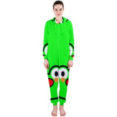 Animals Frog Face Green Hooded Jumpsuit (Ladies)