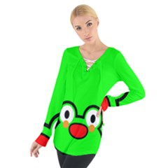 Animals Frog Face Green Women s Tie Up Tee