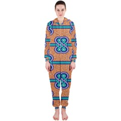 African Fabric Iron Chains Blue Orange Hooded Jumpsuit (Ladies)