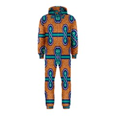 African Fabric Iron Chains Blue Orange Hooded Jumpsuit (Kids)